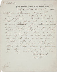 Ulysses S. Grant Autograph Letter Signed to General William T. Sherman