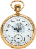 Timepieces:Pocket (pre 1900) , Waltham Rare Masonic Dial 18k Gold 19 Jewel Model 88, circa 1892....