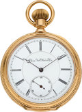 Timepieces:Pocket (pre 1900) , Elgin Rare 18k Gold Cased 21 Jewel Convertible, circa 1878. ...