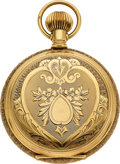 Timepieces:Pocket (pre 1900) , Waltham Private Label Model 83 Ornate 14k Gold Hunters Case, circa 1891. ...