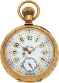Timepieces:Pocket (pre 1900) , Elgin 14k Gold Convertible With Fancy Dial, circa 1890. ...