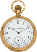 Timepieces:Pocket (pre 1900) , Elgin 14k Gold Cased 21 Jewel Three Finger Bridge Convertible,circa 1881. ...