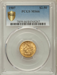 1907 $2 1/2 MS66 PCGS Secure. PCGS Population: (413/107). NGC Census: (423/140). CDN: $815 Whsle. Bid for problem-free N...