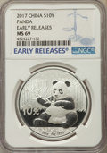 China:People's Republic of China, 2017 10 Yuan Silver Panda, Early Releases, MS69 NGC. PCGS Population: (12177/8086)....