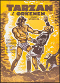 "Movie Posters:Adventure, Tarzan's Desert Mystery (RKO, R-1968). Danish Poster (24"" X 33.5"").Adventure.. ..."