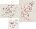 Animation Art:Production Drawing, Society Dog Show Mickey Mouse, Pluto, and Fifi AnimationDrawings Group of 3 (Walt Disney, 1939). ... (Total: 3 )