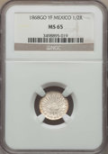 Mexico, Mexico: Republic 1/2 Real 1868 Go-YF MS65 NGC,...