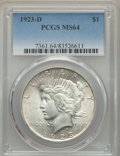 Peace Dollars: , 1923-D $1 MS64 PCGS. PCGS Population: (1552/577). NGC Census:(1037/259). CDN: $320 Whsle. Bid for problem-free NGC/PCGS MS...