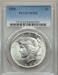 Peace Dollars, 1928 $1 MS62 PCGS. PCGS Population: (2012/4968). NGC Census:(1692/2736). Mintage 360,649....