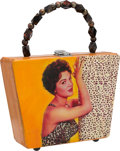 """Music Memorabilia:Costumes, A Connie Francis Custom-Made Decoupaged Wooden Purse Related to""""Where The Boys Are,"""" 2008...."""