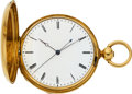 Timepieces:Pocket (pre 1900) , H. L. Matile 18k Gold Two-Train With Independent Dead-Beat Seconds,circa 1870. ...