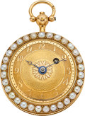 Timepieces:Pocket (pre 1900) , Swiss Miniature Gold, Enamel & Pearl Verge Fusee, circa 1840's....
