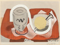 Fine Art - Work on Paper:Print, Georges Braque (1882-1963). Still life with lemon, 1934.Lithograph in colors on wove paper. 6-1/2 x 9-1/4 inches (16.5 ...