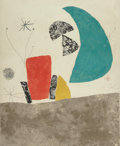 Fine Art - Work on Paper:Print, Joan Miró (1893-1983). Plate 5, from Espriu-Miró,1975. Etching and aquatint in colors on Guarro paper. 34-1/8 x27-...