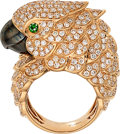Estate Jewelry:Rings, Diamond, Tsavorite Garnet, Rose Gold Ring . ...