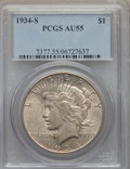 Peace Dollars: , 1934-S $1 AU55 PCGS. PCGS Population: (491/2723). NGC Census:(389/1731). CDN: $475 Whsle. Bid for problem-free NGC/PCGS AU...