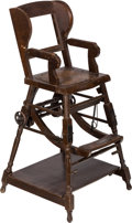 Furniture , A White Star Line Titanic-Era Oak Folding Child's Chair from the R.M.S. Majestic with a Three-Piece Sterling Silve... (Total: 2 Items)