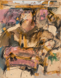 Larry Rivers (1925-2002) Seated Figures, circa 1957 Mixed media with collage on paper 13-5/8 x 11