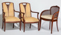 Furniture : French, Three Art Nouveau Upholstered Armchairs in the Manner of LouisMajorelle. Circa 1900-1915. Ht. 36-1/2 x W. 23-1/2 in. (large...(Total: 3 Items)