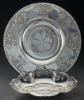 Silver Holloware, Continental:Holloware, Art Nouveau Silver-Plated Platter and Bowl. Circa 1900. StampedWMFM, I/O, OX. Dia. 16-1/8 in. (larger). ... (Total: 2 Items)