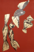 Prints:Contemporary, Lynda Benglis (b. 1941). Dual Nature (Brown), 1991.Lithograph with gold leaf on hand-tinted paper. 47-1/2 x 31-1/2inch...