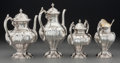 Silver Holloware, Continental:Holloware, A Four-Piece Portuguese Silver Tea and Coffee Service, Porto,Portugal, 20th century. Marks: (eagle-833), (maker's mark). 11...(Total: 4 Items)