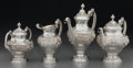 Silver Holloware, Continental:Holloware, A Portuguese Silver Tea and Coffee Set, Porto, Portugal, 20thcentury. Marks: (eagle-833), (maker's mark). 10 inches high (2...(Total: 4 Items)