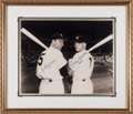 Baseball Collectibles:Photos, 1990's Joe DiMaggio and Mickey Mantle Signed Oversized Photograph. ...