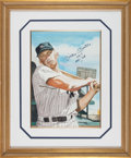 Baseball Collectibles:Others, 1992 Mickey Mantle Signed Watercolor Painting by Artist John Giancaspro....