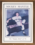 "Baseball Collectibles:Others, Circa 1990 Mickey Mantle Signed Lithograph Display with ""1956"" Inscription...."