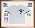 Baseball Collectibles:Uniforms, 1991 Mickey Mantle Worn & Signed Jersey from Instructional Video....