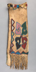 American Indian Art:Beadwork and Quillwork, A Early and Rare Otoe Beaded Hide Tobacco Bag. ...