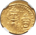Ancients:Byzantine, Ancients: Constans II Pogonatus (AD 641-668), with Constantine IV.AV solidus (4.37 gm). NGC MS 3/5 - 4/5. ...