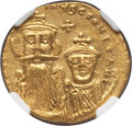 Ancients:Byzantine, Ancients: Constans II Pogonatus (AD 641-668), with Constantine IV.AV solidus (4.28 gm). NGC MS 4/5 - 3/5, clipped....