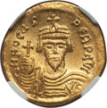 Ancients:Byzantine, Ancients: Phocas (AD 602-610). AV solidus (4.47 gm). NGC MS 5/5 -3/5, wavy flan....