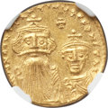 Ancients:Byzantine, Ancients: Constans II Pogonatus (AD 641-668), with Constantine IV.AV solidus (4.34 gm). NGC MS 5/5 - 3/5, clipped....