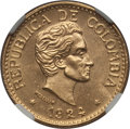 Colombia, Colombia: Republic 5 Pesos 1924 MS64 NGC,...