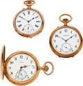 Timepieces:Pocket (post 1900), Three Large 14k Gold Swiss Pocket Watches. ... (Total: 3 Items)