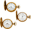 Timepieces:Pocket (post 1900), Three 14k Gold 16 Size Hunter Case Watches. ... (Total: 3 Items)