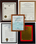 Music Memorabilia:Awards, A Connie Francis Group of Citations, 2000s.... (Total: 5 Items)