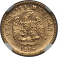 Mexico, Mexico: Republic gold Peso 1896 Mo-M MS65 NGC,...