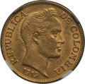 Colombia, Colombia: Republic gold 2-1/2 Pesos 1919 AU58 NGC,...