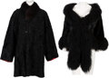 Music Memorabilia:Costumes, A Connie Francis Pair of Black Fur Items, 1980s.... (Total: 2 )