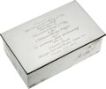 Hockey Collectibles:Others, 1943-44 Clint Smith Lady Byng Sterling Silver Presentation Cigarette Box. ...