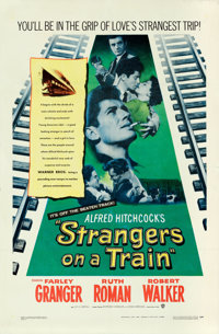 "Strangers on a Train (Warner Brothers, 1951). One Sheet (27"" X 41"")"