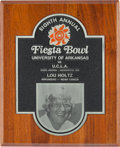 Football Collectibles:Others, 1978 Fiesta Bowl Arkansas vs. UCLA Plaque Presented to Lou Holtz....