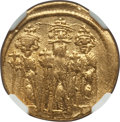 Ancients:Byzantine, Ancients: Heraclius (AD 610-641), with Heraclius Constantine andHeraclonas as Caesar. AV solidus (4.38 gm). NGC XF, graffito....