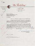 Football Collectibles:Others, 1947 George Preston Marshall and Curly Lambeau Signed Trade Agreement....