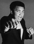Photographs:Gelatin Silver, Francesco Scavullo (American, 1921-2004). Muhammad Ali, New York Studio, 1982. Gelatin silver. 9-1/2 x 7-3/8 inches (24....