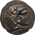 Ancients:Greek, Ancients: MACEDONIAN KINGDOM. Alexander III the Great (336-323 BC).AR tetradrachm (17.02 gm). NGC Choice AU 4/5 - 2/5, flan flaw....